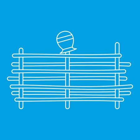 Palisade icon blue outline style isolated vector illustration. Thin line sign