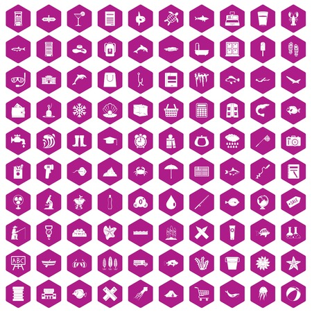 ice: 100 fish icons set in violet hexagon isolated vector illustration Illustration