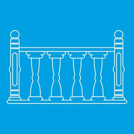 Balustrade pictogram blauwe omtrek stijl geïsoleerd vectorillustratie. Dunne lijnteken Stockfoto - 83960064