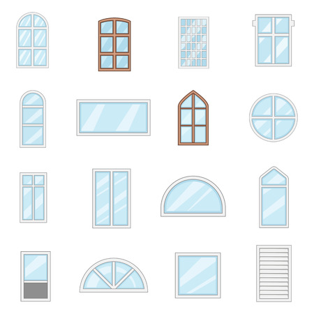 home office interior: Window design types icons set. Cartoon illustration of 16 window design types vector icons for web