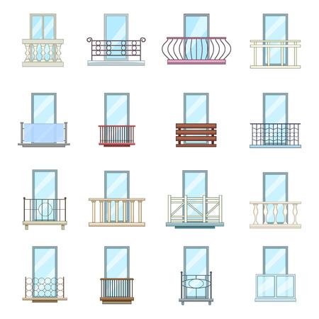 Balkon venster vormt pictogrammen instellen. De beeldverhaalillustratie van 16 balkonvenster vormt pictogrammen geplaatst vectorpictogrammen voor Web Stockfoto - 83980476