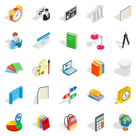 Teacher icons set. Isometric set of 25 teacher vector icons for web isolated on white background