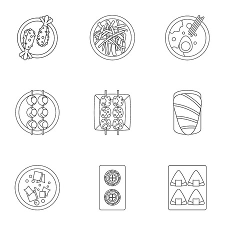 Food icons set. Outline set of 9 food vector icons for web isolated on white background Illustration