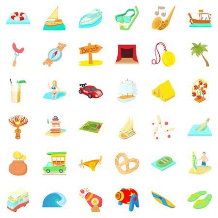 cartoon umbrella: Adventure time icons set. Cartoon style of 36 adventure time vector icons for web isolated on white background