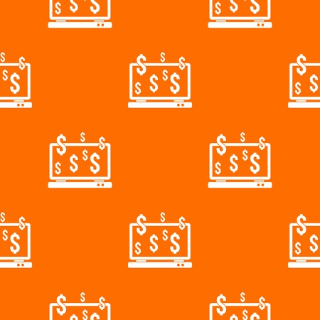 security monitor: Computer monitor and dollar signs pattern repeat seamless in orange color for any design. Vector geometric illustration Illustration
