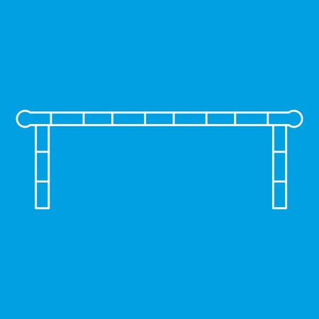 Striped barrier icon blue outline style isolated vector illustration. Thin line sign