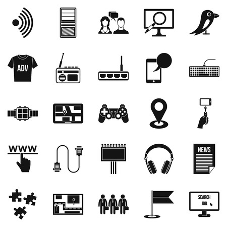 Access icons set. Simple set of 25 access vector icons for web isolated on white background