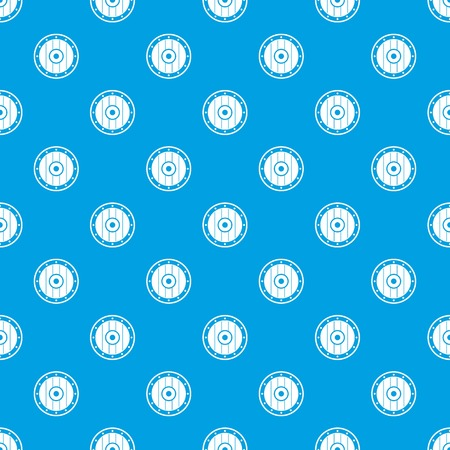 Round army shield pattern repeat seamless in blue color for any design. Vector geometric illustration Ilustração