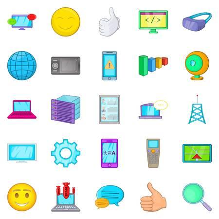 wireless communication: Secret information icons set. Cartoon set of 25 secret information vector icons for web isolated on white background Illustration