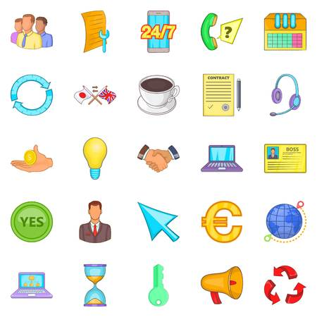 wireless communication: Network icons set. Cartoon set of 25 network vector icons for web isolated on white background