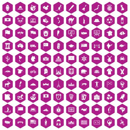 ship anchor: 100 geography icons set in violet hexagon isolated vector illustration