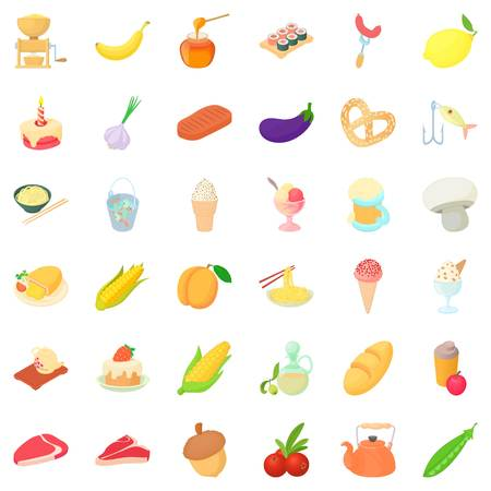 Breakfast icons set. Cartoon style of 36 breakfast vector icons for web isolated on white background Illustration