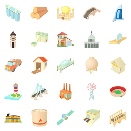 office building: Operand icons set. Cartoon set of 25 operand vector icons for web isolated on white background