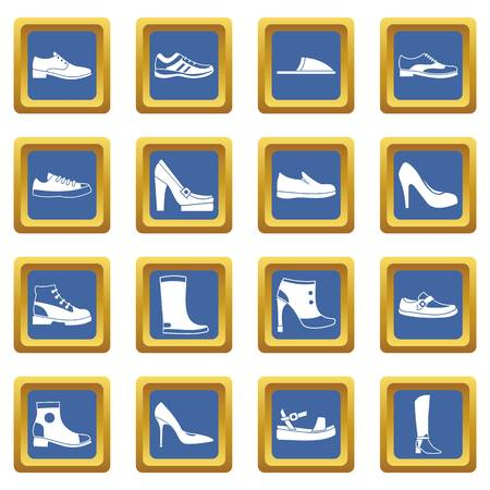 loafer: Shoe icons set in blue color isolated vector illustration for web and any design Illustration