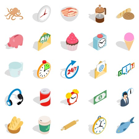 Cure icons set. Isometric set of 25 cure vector icons for web isolated on white background Illustration