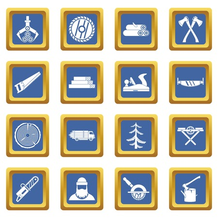 logging: Timber industry icons set in blue color isolated vector illustration for web and any design