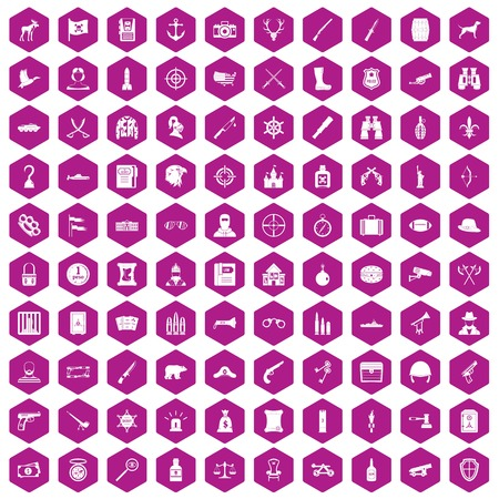 sleeve: 100 guns icons set in violet hexagon isolated vector illustration