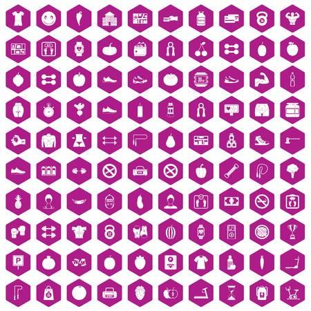 100 die gymnastiekpictogrammen in violette zeshoek geïsoleerde vectorillustratie worden geplaatst Stock Illustratie