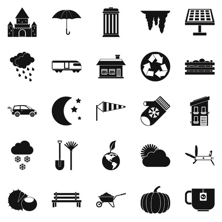 interior decoration: Small house icons set. Simple set of 25 small house vector icons for web isolated on white background