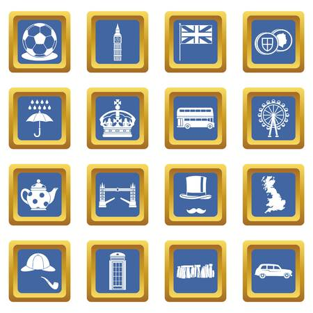 london tower bridge: Great Britain icons set in blue color isolated vector illustration for web and any design Illustration