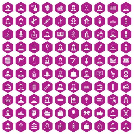 hairdresser: 100 hairdresser icons set in violet hexagon isolated vector illustration