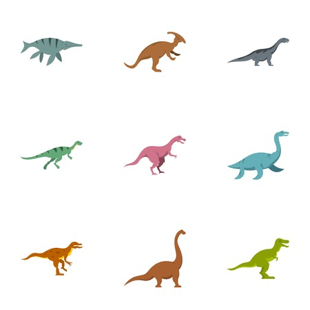 deinonychus: Dinosaur icons set. Flat set of 9 dinosaur vector icons for web isolated on white background Illustration