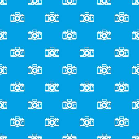 shutter: Photocamera pattern repeat seamless in blue color for any design. Vector geometric illustration