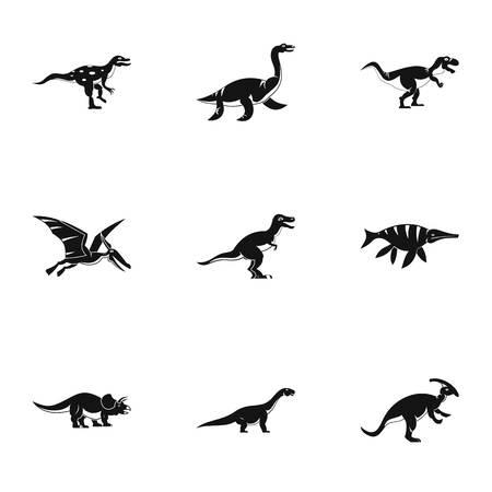 deinonychus: Dinosaur icons set. Simple set of 9 dinosaur vector icons for web isolated on white background Illustration