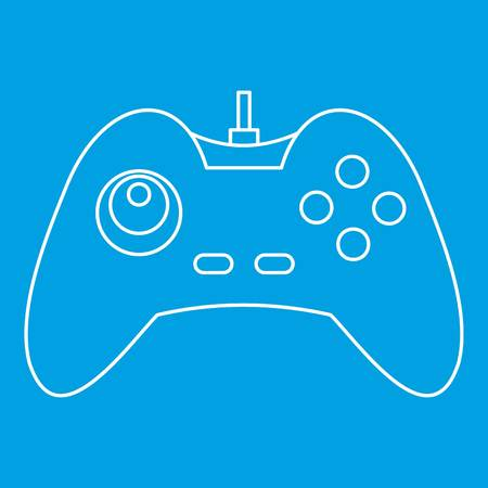 One joystick icon blue outline style isolated vector illustration. Thin line sign