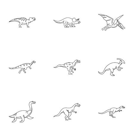 deinonychus: Dinosaur icons set. Outline set of 9 dinosaur vector icons for web isolated on white background