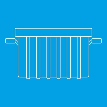 refuse: Garbage can icon blue outline style isolated vector illustration. Thin line sign Illustration