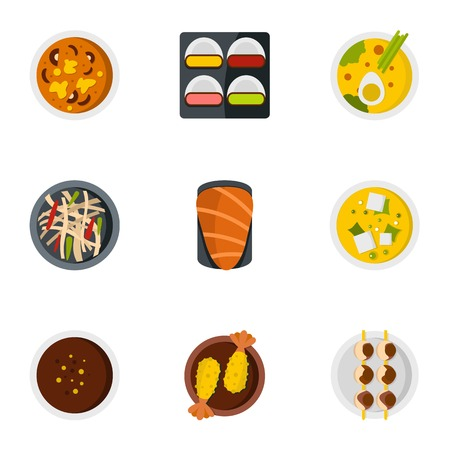 parts icons set. Flat set of 9 parts vector icons for web isolated on white background Illustration
