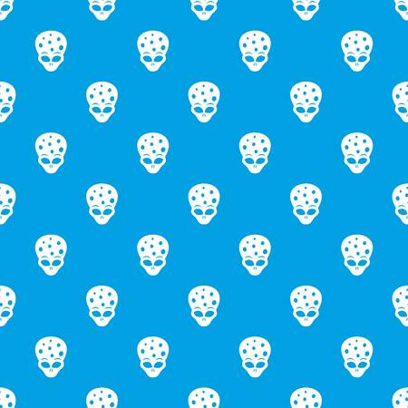 ufology: Extraterrestrial alien head pattern repeat seamless in blue color for any design. Vector geometric illustration Illustration
