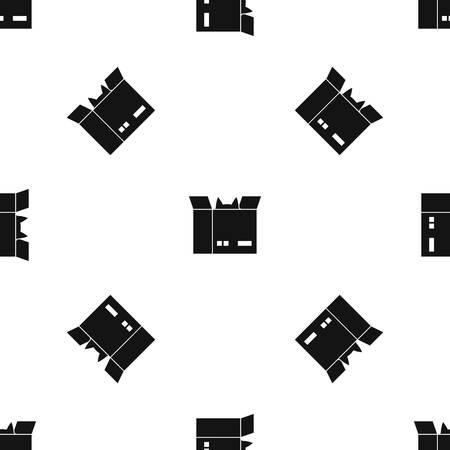 段ボール箱のパターンで猫を任意のデザインのブラック カラーではシームレスに繰り返します。ベクトルの幾何学的な図