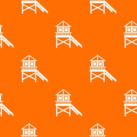 wooden post: Wooden stilt house pattern repeat seamless in orange color for any design. Vector geometric illustration