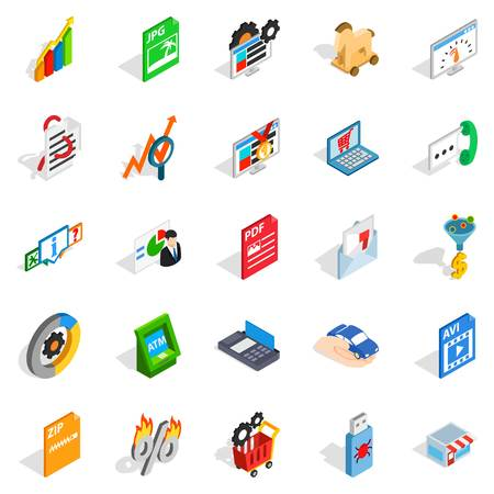 querying: Discreditable practices icons set. Isometric set of 25 discreditable practices vector icons for web isolated on white background