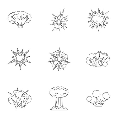 cartoon bomb: Game explosion icons set. Outline set of 9 parts vector icons for web isolated on white background