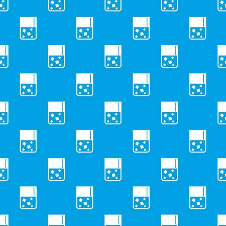 glass reflection: Glass of whiskey and ice pattern repeat seamless in blue color for any design. Vector geometric illustration