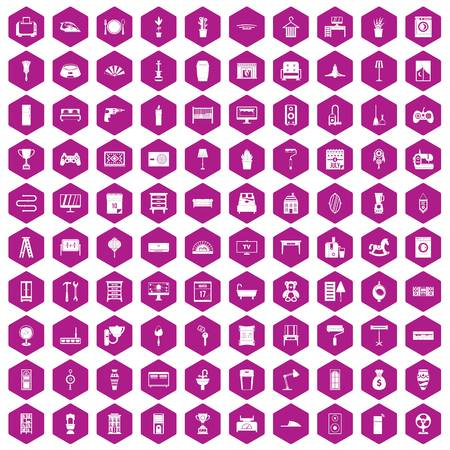 iron fan: 100 home icons set in violet hexagon isolated vector illustration