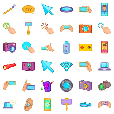Device icons set. Cartoon style of 36 device vector icons for web isolated on white background