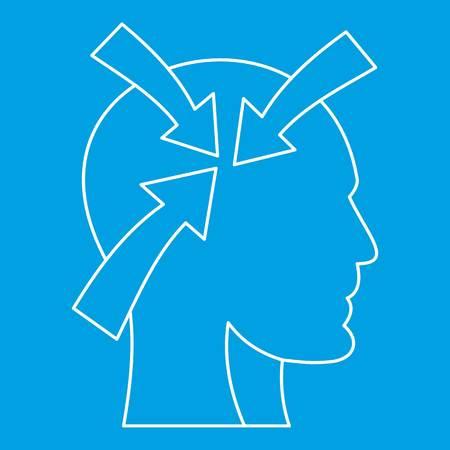 Arrows inside human head icon blue outline style isolated vector illustration. Thin line sign Illusztráció