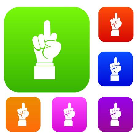 middle: Middle finger hand sign set icon in different colors isolated vector illustration. Premium collection Illustration