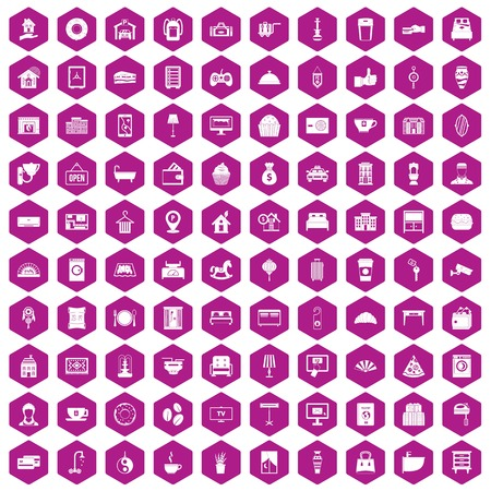 suite: 100 hotel icons set in violet hexagon isolated vector illustration Illustration