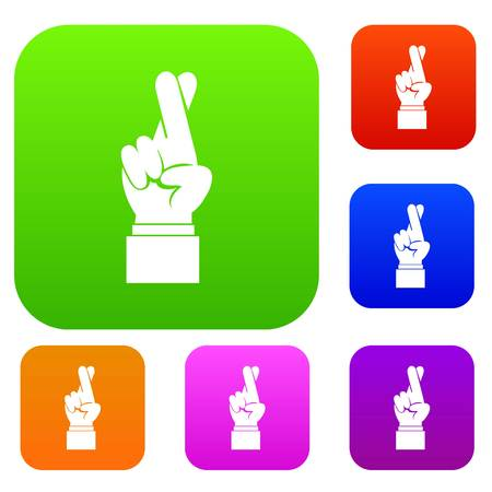 Fingers crossed set icon in different colors isolated vector illustration. Premium collection