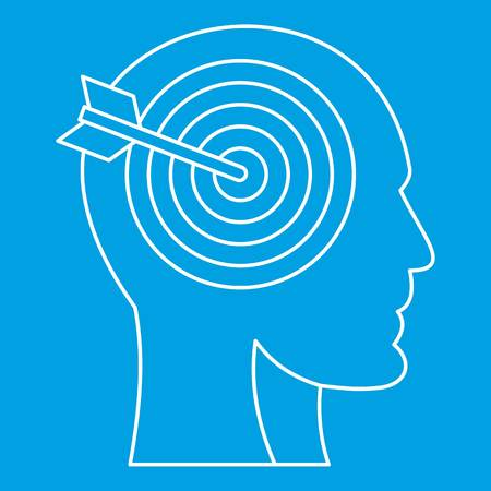 Human head profile with target inside icon blue outline style isolated vector illustration. Thin line sign Illustration