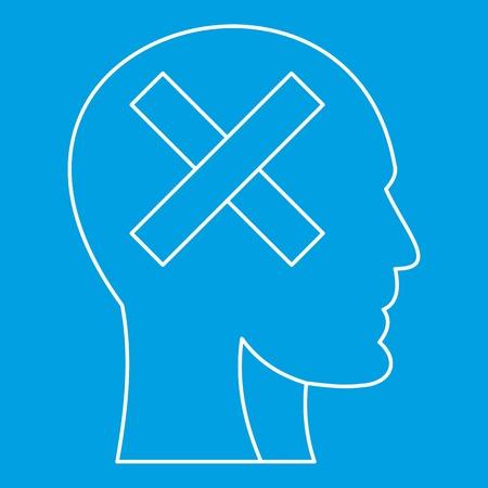 Cross in head icon, outline style Illusztráció