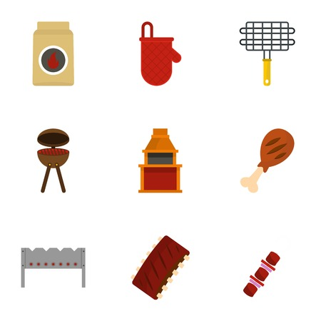 Barbecue equipment icons set, flat style Illustration