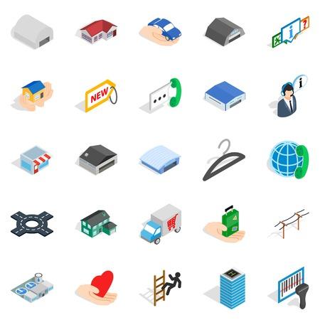 Ante icons set, isometric style Illustration