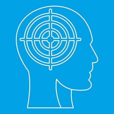Head with crosshair icon, outline style Illustration