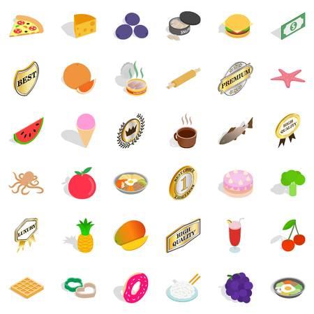 Dish icons set, isometric style